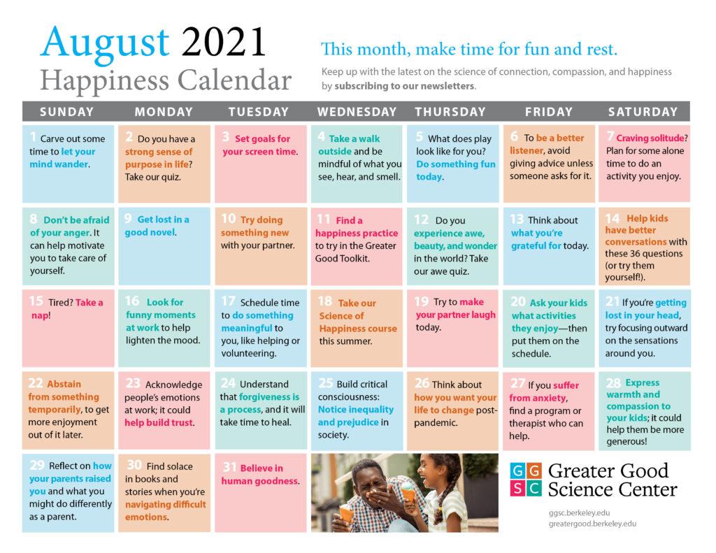 Greater Good Happiness Calendar August 2021